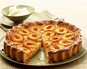 Apricot tart, a piece cut