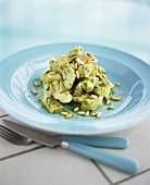 Marinated artichoke hearts with pine nuts