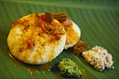 Indian rice & lentil flatbread (Idli sambar) with chutney