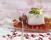 Strawberry yoghurt mousse with lime zest
