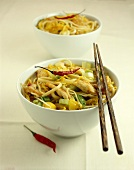 Asian noodle stew with chicken and leeks