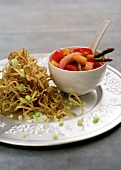 Fried noodles with spring onions and mango relish