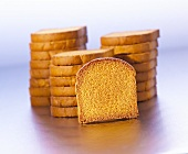 Zwieback (rusks, in a pile and a single slice)