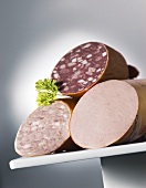 Various fresh sausages (sliced)