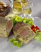 Ham terrine with pistachios; white wine
