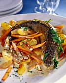 Oven-baked pike-perch with carrots and potatoes