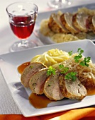 Stuffed pheasant breast in pork caul with champagne sauerkraut