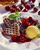 Nut waffles with cherry ragout and vanilla ice cream