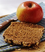 Slice of wholemeal bread and fresh apple