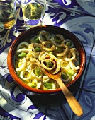 Cuttlefish salad with spring onions