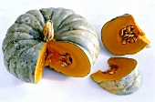 Pumpkin, Blue Hubbard variety, a piece cut off