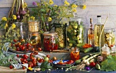Still life with pickled vegetables and herbs