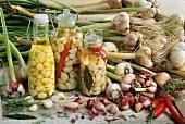 Still life with pickled garlic