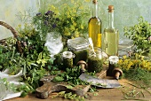 Various herb pastes, fresh herbs and oil