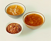 Three different chili sauces