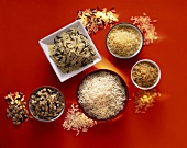 Five types of rice in bowls