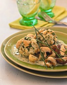 Herb dumplings with mushroom sauce