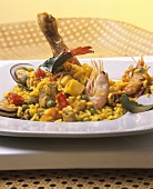 Paella with meat, chicken and seafood