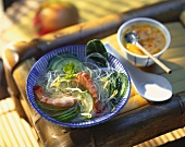 Glass noodle soup with shrimps and cucumber