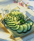 Herb couscous with cucumber and Chinese cabbage