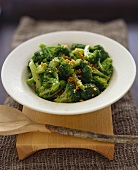 Broccoli with chopped garlic, cooked in wok