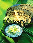 Chapattis and cucumber and mint raita