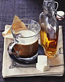 Coffee with cognac in glass