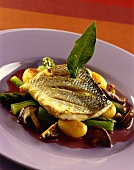 Bream with limes on Asian vegetables