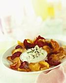 Vegetable crisps with Roquefort dip