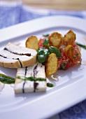 Truffled Taleggio, honey tomatoes & Jerusalem artichoke crisps