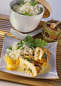 Stuffed chicken breast with mango sauce and coriander rice