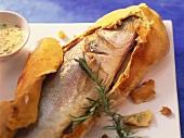 Sea bass in salt dough