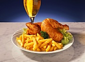 Half a roast chicken with chips and beer
