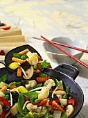 Vegetables and mushrooms in wok