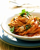 Spaghetti all'arrabiata (Spaghetti with spicy sauce)