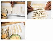 Making puff pastry sticks with poppy seeds and cheese