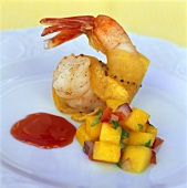 Shrimp with mango salsa and passion fruit sauce