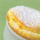 Vanilla soufflé with icing sugar (close-up)