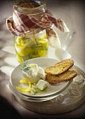 Pickled fresh goat's cheese with toast