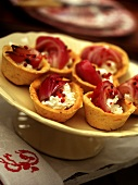 Soft cheese and onion tartlets
