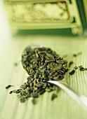 Green tea on spoon