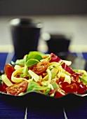Tomato salad with strips of pancake