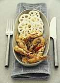 Spicy shrimps with lotus roots