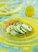 Salad with goat's cheese, cucumber and tomatoes