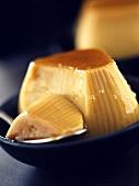 Soya blancmange with caramel sauce