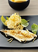 Barbecued sea bream with rice and lemon zest