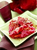 Red cabbage leaves stuffed with apple