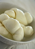 Mozzarella plaits in a bowl