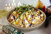Herring salad with beans and potatoes for Christmas