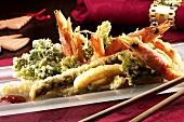Shrimp and vegetable tempura for Christmas
